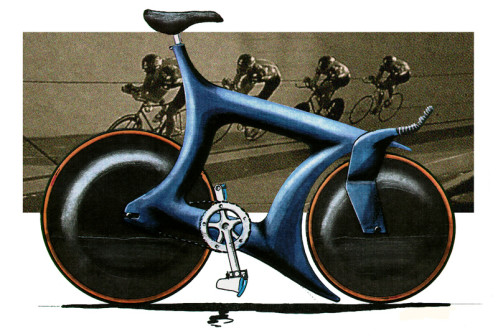 1980s track bike marker sketch by James Thomas