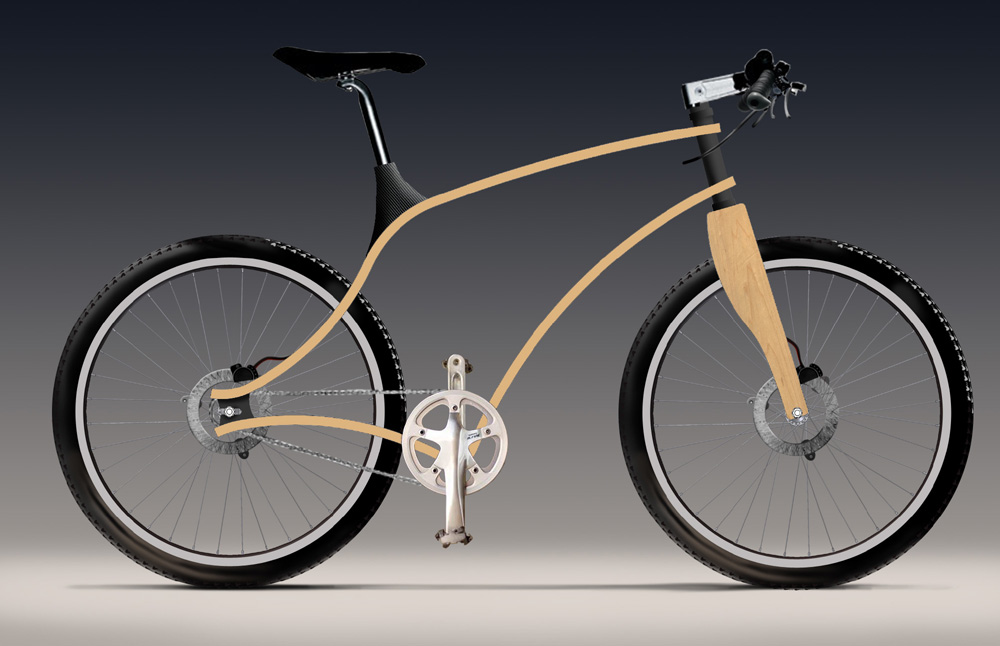 Bent plywood bicycle rendering by James Thomas