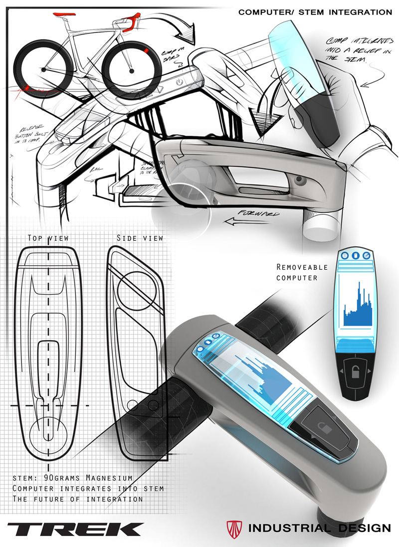Bontrager integrated computer stem design presenation board