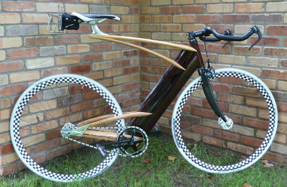Wooden fixed gear bike by Ken Stolpmann