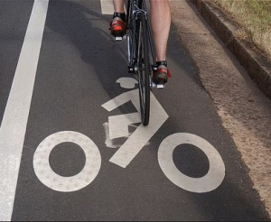 A bike lane marking in Greenville, SC