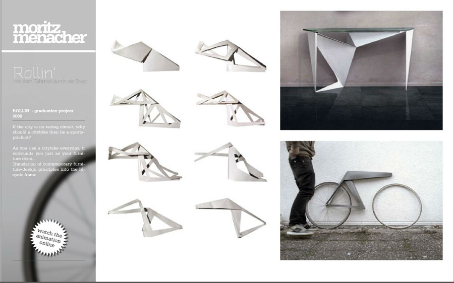 Rollin origami bicycle concept board