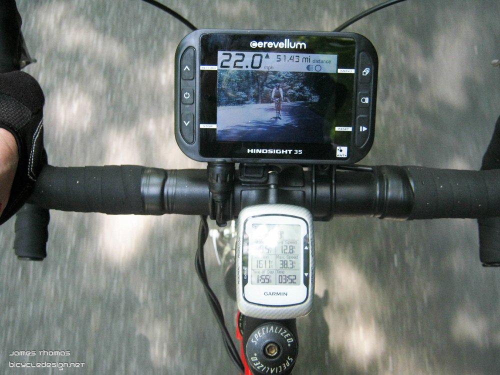 Cerevellum Hinsight 35 cyclo-computer with rear view