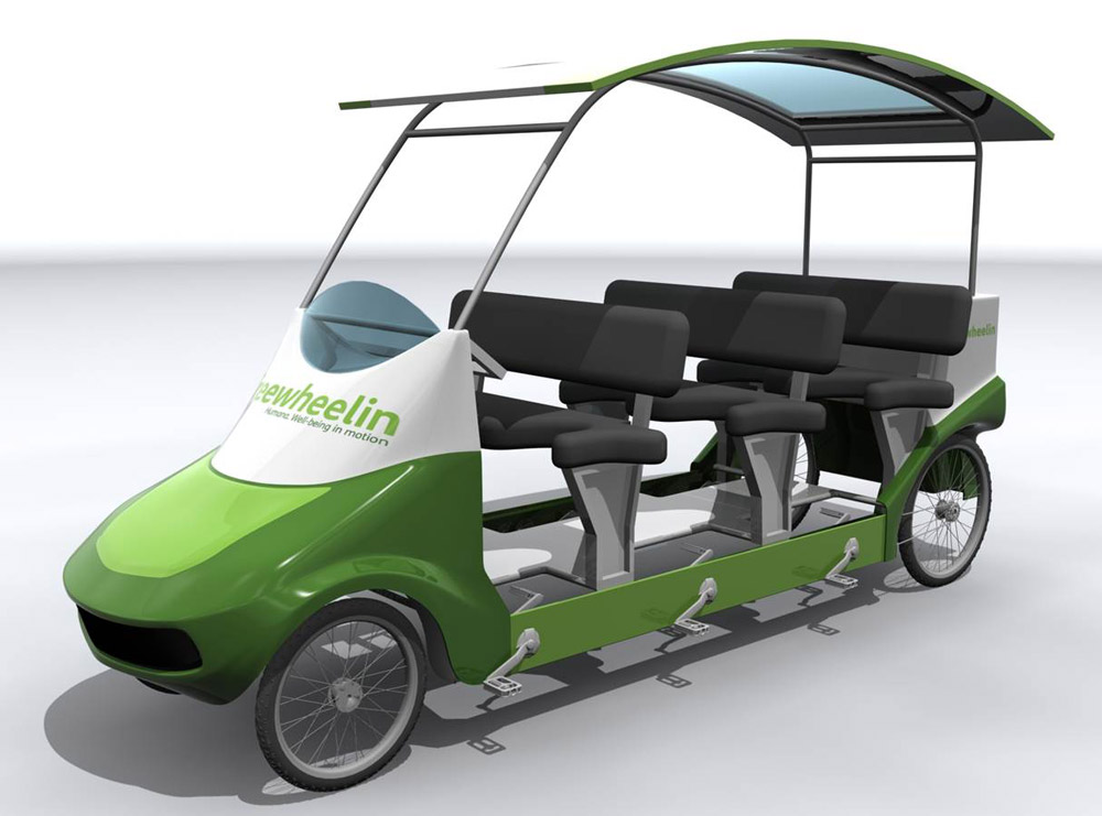 Freewheelin pedal powered bus from Humana