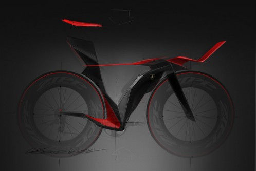 Lamborghini time trial bike concept sketch by Ilya Vostrikov