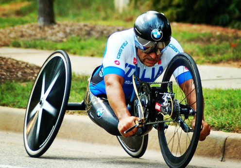 Alex Zanardi of Italy on his way to a H4 time trial win.