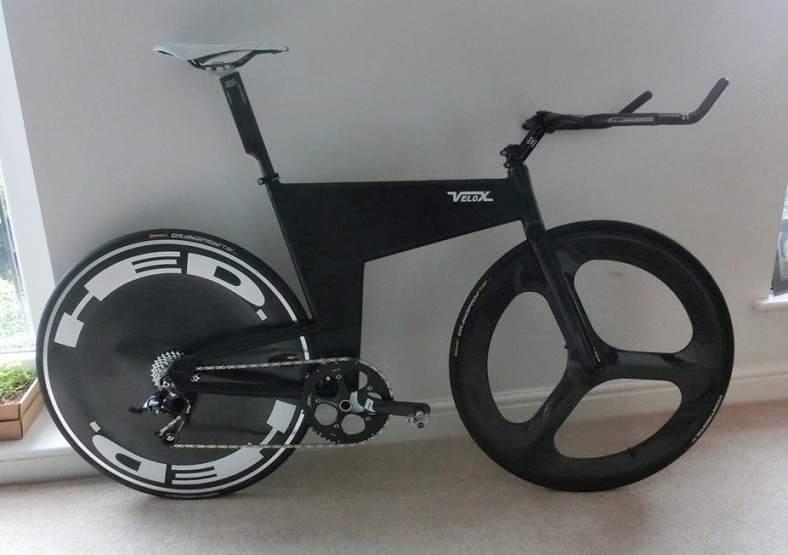 Velox Volcane, a home built carbon and aluminum bike by Richard Machin