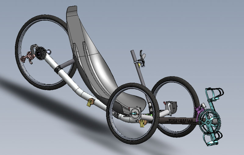 CAD image of Windcheetah recumbent trike, designed by Mike Burrows