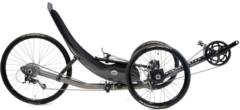 Windcheetah recumbent trike, designed by Mike Burrows